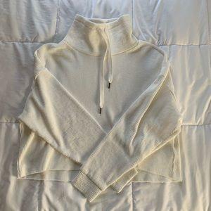 Forever 21 White, Waffle-Knit Cowl-Neck Sweatshirt